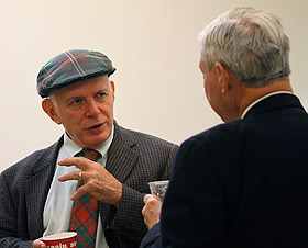 Picture of CDC Director Harry Boyte speaking with Sen. Bob Graham.
