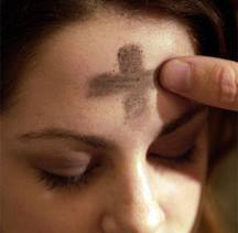Picture of woman with ashes on forehead
