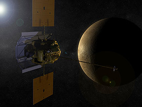 Rendering of the Messenger spacecraft approaching the planet Mercury. Courtesy of NASA.